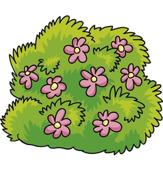 Green bush with pink flowers vector