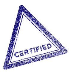 Grunge textured certified triangle stamp seal vector
