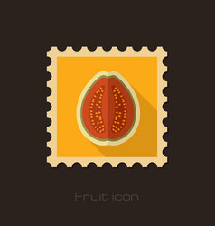 Guava flat stamp tropical fruit vector