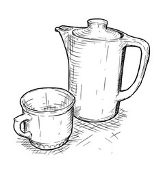 Hand drawing of teapot and cup vector