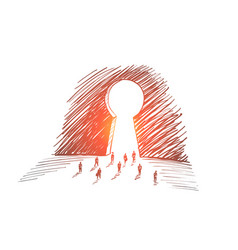 hand drawn business people going to big keyhole vector image