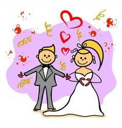 Hand-drawn wedding cartoon character vector