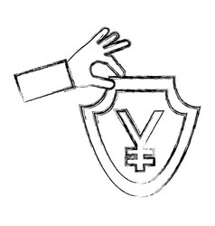 hand holding shield coin yen currency symbol vector image