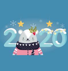 happy new year 2020 celebration cute bear vector image