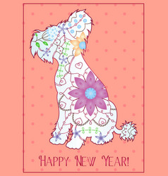 Happy new year with chinese crested dog gradient vector