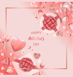 happy valentines day pink greeting square card vector image