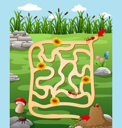 help the cow to find the farm vector image