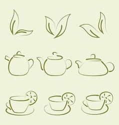 Herbal tea set cups and teapots vector