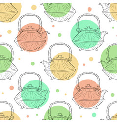 japanese ceramic teapot seamless pattern hand vector image