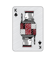 King of clover or clubs french playing cards vector
