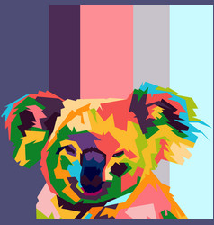 koala face pop art vector image