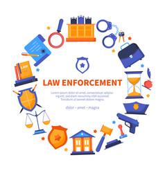 Law enforcement - flat design style banner vector