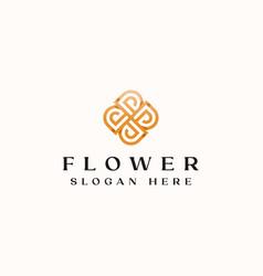 letter d golden flower monogram logo template vector image