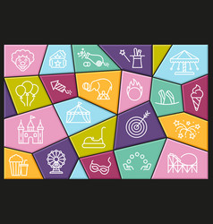 linear icons on theme circus and amusement vector image