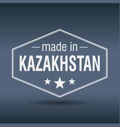 Made in kazakhstan hexagonal white vintage label vector