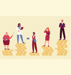 Male and female characters are standing on coins vector