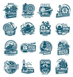 Marine sailing and nautical adventure icons set vector