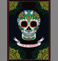 Mexican sugar skull with floral pattern dia de vector