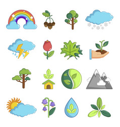 Nature icons set symbols cartoon style vector