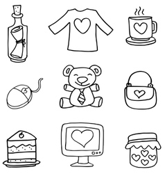 Object love set of doodles vector