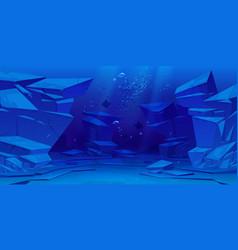 Ocean or sea underwater background empty bottom vector