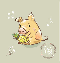pig character holding pineapple 2019 symbol happy vector image