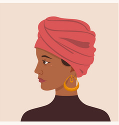 portrait a girl in a turban graphics vector image