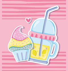Punchy pastels cupcake and juice vector
