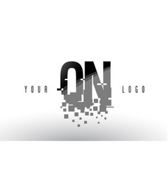 qn q n pixel letter logo with digital shattered vector image
