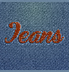 Realistic embroidered jeans word vector