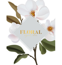 realistic magnolia floral and gold set isolated vector image