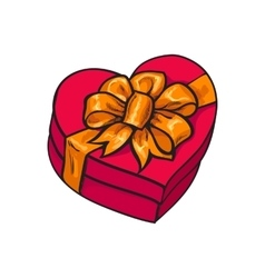 Red heart shaped gift box with bow and ribbon vector