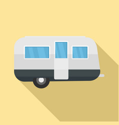 Retro travel trailer icon flat style vector