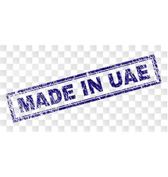 scratched made in uae rectangle stamp vector image