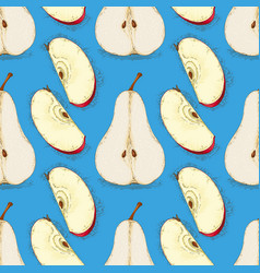 seamless pattern pears and red apples slices vector image