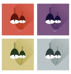Set flat web icons with long shadow Bells wedding vector