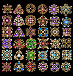 set jewelry vintage pendants ornament made of vector image