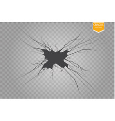 set of cracks isolated on transparent vector image