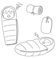 Set of sleeping bag vector