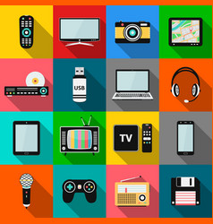 set of technology and multimedia devices icons vector image