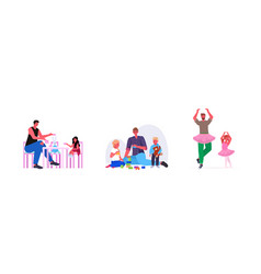 set young father spending time with his children vector image