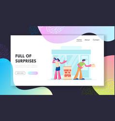 shop open event website landing page promoters vector image