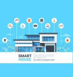 smart home concept infographics modern house vector image