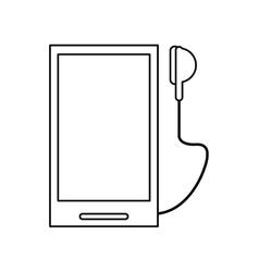 Smartphone mobile music earphones audio outline vector