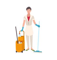Smiling woman dressed in uniform holding floor mop vector