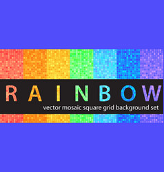 square pattern set rainbow seamless tile vector image
