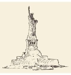 statue liberty hand drawn vector image