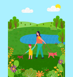 summer scenery family walking along pond lake vector image