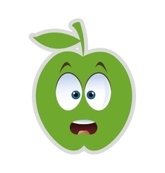 Surprised apple cartoon icon vector