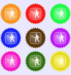Tennis player icon sign Big set of colorful vector image